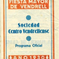 Fiesta Mayor de Vendrell : programa oficial año 1930