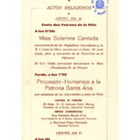 Fiesta Mayor 1962 Vendrell : actos religiosos