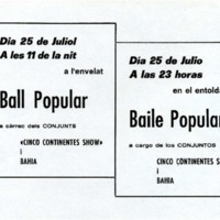 "Ball Popular de ""Cinco Continentes Show"" i Bahia el 25 de juliol"
