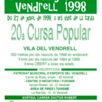 20a Cursa Popular Vila del Vendrell : Festa Major del Vendrell 1998