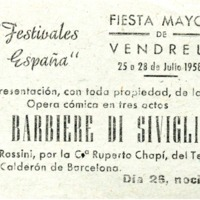 Fiesta Mayor de Vendrell del 25 a 28 de julio de 1958 :  Il Barbiere di Siviglia
