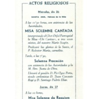 Fiesta Mayor de la Villa de Vendrell : julio 1961 : actos religiosos