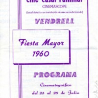 Cine Casal Familiar de Vendrell : Fiesta Mayor 1960 : programa cinematográfico del 23 al 28 de julio
